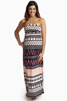 392744dde1c Navy Pink Chevron Tribal Printed Strapless Maternity Maxi Dress