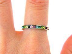 Women's Multicolor Rhinestone Eternity Ring Band Silver Tone Size 7.5 #Unbranded #Eternity
