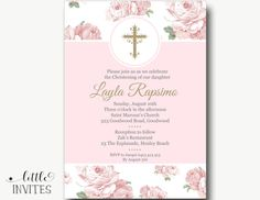 Girl Baptism Invitation/Shabby Chic Baptism by LittleInvites