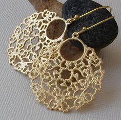 Round Filigree Gold Earrings Chandelier Earrings by PeriniDesigns on Etsy