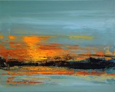 Buy Sunset Impression - 40 x 50 cm abstract landscape painting in grey and orange tones, Oil painting by Beata Belanszky Demko on Artfinder. Discover thousands of other original paintings, prints, sculptures and photography from independent artists.