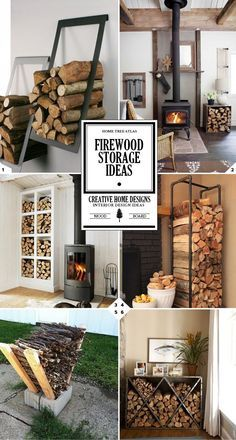 A Crackling Hearth: Indoor Firewood Storage Concepts. >> Look into more by checking out the photo link cabin decor A Crackling Fire: Indoor Firewood Storage Ideas - Home Tree Atlas Laundry Room Storage, Diy Storage, Recycling Storage, Creative Storage, Plastic Storage, Storage Shelves, Storage Organization, Stacking Firewood, Parrilla Exterior