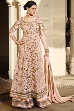 Elegant Peach and Gold Anarkali Suit with Palazzo