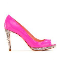 Pink patent silver glitter peep toe pumps. Ludicrously pricy from Miu Miu.