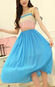 O-neck Sleeveless Printed Chiffon Color Block Beach Dress
