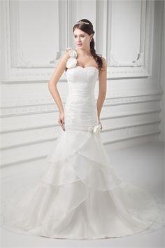 Robe de mariée fantaisie sirène ornée de fleurs en organza et en satin