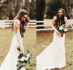 Lace Mermaid Bohemia Wedding Dresses V Neck Sheer Long Sleeves Tulle Applique Backless Sweep Train Country Wedding Bridal Gowns Elegant Wedding Gowns, Country Wedding Dresses, Perfect Wedding Dress, Dream Wedding, Lace Wedding, Wedding Greenery, Country Weddings, Lace Mermaid, Mermaid Wedding