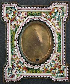 Antique Italian Miniature Micro Mosaic Frame