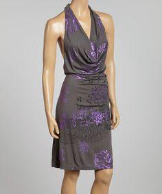 Love this Dark Gray Chain Halter Dress by ANAMÁ on #zulily! #zulilyfinds