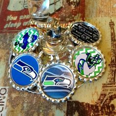 Seattle Seahawks Inspired Wine Charms Bottle Cap by EterraCouture