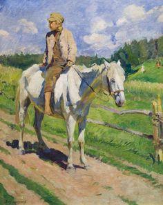 Sergey Vinogradov; A boy on horseback, 1928