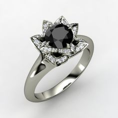 The Lotus Ring customized in black diamond, diamond and white gold