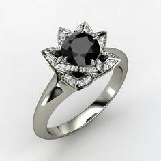Round Black Diamond 14K White Gold Ring with Diamond - Perspective