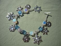 Snowflake Charm Bracelet Winter Jewelry by AllMyLoveofCrafts, $24.00