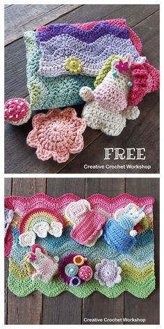 Fold Up Unicorn Play Set Free Crochet Pattern - DIY Magazine Fold Up Unicorn Play Set Free Crochet Pattern Crochet Pony, Crochet Horse, Crochet Eyes, Crochet Baby Hats, Thread Crochet, Cute Crochet, Crochet For Kids, Diy Unicorn Doll, Crochet Unicorn Blanket