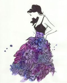 purple fashion sketch    Melissa Henson via Nakshatra Nights onto Artworks (paintings, illustrations, color palettes, maybe even some vintage photography)