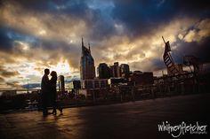 www.whitneyfletcherphotography  Downtown Nashville Nashville Skyline  Nashville Engagement Photographer