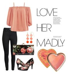 Love her madly ♡ by linda013 on Polyvore. Complete and affordable outfit with a coral shirt and black skinny. Floral bag and pump's and coral jewelry.