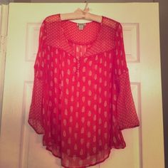 Lucky Brand top Lucky Brand printed red top. Flowy top with buttons at neckline. Detail on sleeve and bust where the two prints meet. Semi sheer so looks best with a camisole underneath. Lucky Brand Tops Blouses