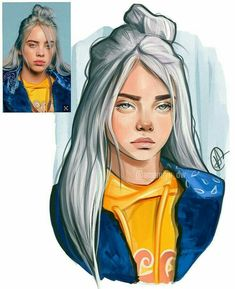 dibujos a lapiz Billie Eilish Drawing , Billie Eilish Cool Art Drawings, Pencil Art Drawings, Art Drawings Sketches, Realistic Drawings, Cartoon Drawings, Cartoon Art, Pencil Sketching, Horse Drawings, Drawing Art
