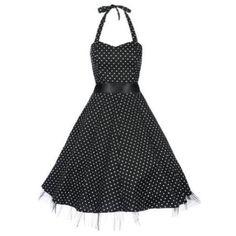 Lindy Bop 'Bonnie' Black Polka Dot Vintage 1950'S Rockabilly Pinup Halter Party Swing Dress, Small