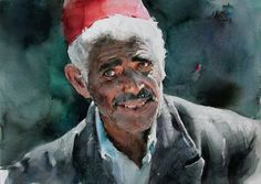 Guan Weixing's watercolor-- Tunisian man with a red hat