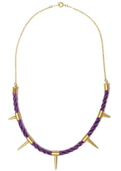 'Dark Unicorn' Woven horsehair spike necklace in purple with 22ct gold plating.  www.danielacardillo.com  #gold #jewellery #jewelery #neckpiece #necklace #spikes #studs #design #fashion #craft #woven #horse #hair