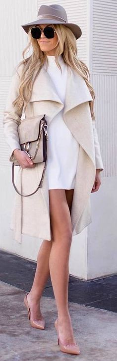 #winter #outfits white dress, beige long coat, heels