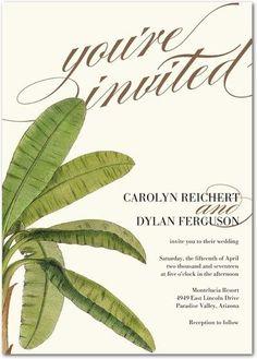 Barbados Palm - Signature White Wedding Invitations - Pottery Barn - Pearl - White : Front