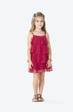 Vestido Infantil De Alça Com Babados Em Poliamida Puc