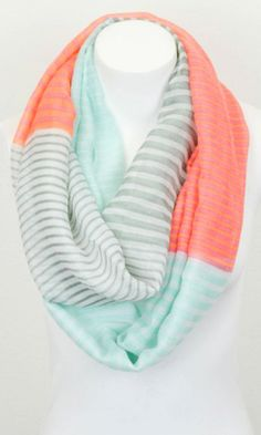 Mint + coral scarf