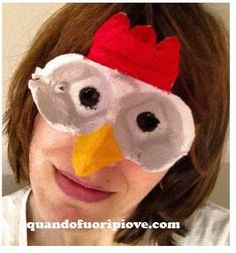 Super idea, chicken mask: Mask made of egg cartons- Super-Idee, Hühnermaske: Maske aus Eierkartons Super idea, chicken mask: Mask made of egg cartons - Egg Carton Art, Egg Carton Crafts, Egg Cartons, Diy For Kids, Crafts For Kids, Arts And Crafts, Chicken Crafts, Mask Party, Recycled Crafts