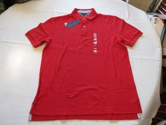 Mens Tommy Hilfiger Polo shirt L large solid NEW 7848707 Pomegranate 619 red #TommyHilfiger #polo