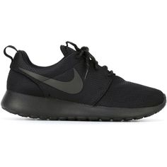 Nike Roshe One Sneakers (6.235 RUB) ❤ liked on Polyvore featuring shoes, sneakers, black, laced shoes, round cap, black trainers, black shoes and black lace up shoes