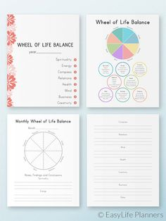 Happy Planner Inserts, Wheel of Life Balance, Made To Fit Erin Condren Planner Planner Inserts, Planner Template, Planner Pages, Life Planner, Happy Planner, Printable Planner, Printables, Life Balance Wheel, Wheel Of Life