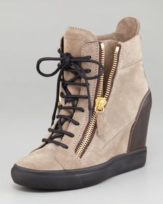 Suede Wedge Sneaker by Giuseppe Zanotti at Neiman Marcus.