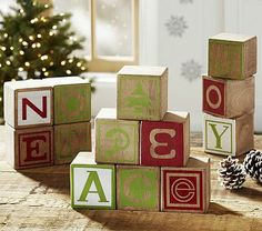 Vintage Wood Block Word Set #pbkids.. christmaS DECOR