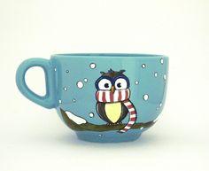 Owl coffee mug- hand painted by Eu