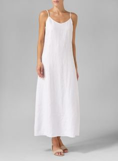 White Linen Spaghetti Strap Long Dress