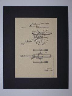 Gatling Machine Gun 1865 Patent drawing HistoricPatentArt.com Gun