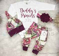 This adorable floral Daddys Princess outfit will be perfect for you little princess.. This sweet outfit is made of super soft and stretchy cotton lycra (aka spandex). Choose from drop down menu of your choices.. This adorable outfit will make a perfect take home outfit, photo prop