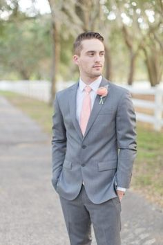 These peach-inspired southern men wedding ideas I have for you all today are so gorgeous- Best Wedding Suits, Wedding Men, Wedding Ideas, Wedding Colors, Trendy Wedding, Wedding Things, Wedding Flowers, Gray Groomsmen Suits, Groom And Groomsmen