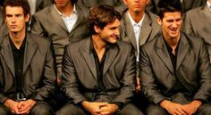 Roger Federer of Switzerland and Novak Djokovic of Serbia during the opening ceremony at the Shanghai Exhibition Center for the Tennis Masters Cup November 2008 in Shanghai, China Tennis Gear, Sport Tennis, Roger Federer, Tennis Masters, Tennis Legends, Tennis World, Sports Personality, Dark Men, Andy Murray