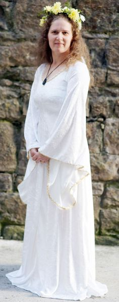 Pagan-Medieval-Larp-Sca-Wicca-Handfasting-Wedding CREAM PAGAN DRESS All Sizes in Clothes, Shoes & Accessories, Fancy Dress & Period Costume, Fancy Dress   eBay