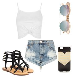 """""""Untitled #18"""" by leahluvs23 ❤ liked on Polyvore featuring Le Specs, J.Crew, One Teaspoon, Mystique and Topshop"""