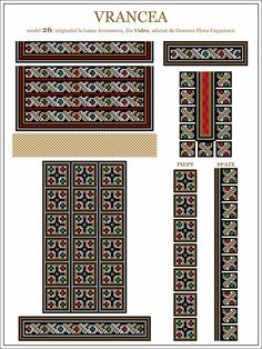 Semne Cusute: ie din MOLDOVA, Vrancea, Vidra Embroidery Motifs, Moldova, Hama Beads, Traditional Outfits, Beading Patterns, Pixel Art, Cross Stitch Patterns, Projects To Try, Sewing