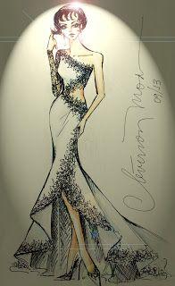 DESENHOS DE MODA: Desenhos de Moda - Vestido assimétrico para uma noite especial.