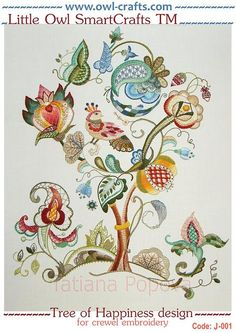 Vintage Embroidery Designs Tree of Happiness embroidery design for crewel embroidery with stitch guide and instructions - Bordado Jacobean, Crewel Embroidery Kits, Hardanger Embroidery, Learn Embroidery, Hand Embroidery Patterns, Vintage Embroidery, Machine Embroidery, Embroidery Thread, Embroidery Supplies