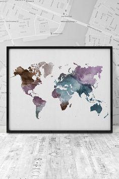 World map print Watercolor world map Printable by ArtFilesVicky