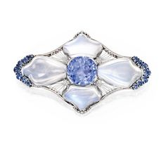 PLATINUM, MOONSTONE AND SAPPHIRE BROOCH, TIFFANY & CO., DESIGNED BY LOUIS COMFORT TIFFANY - circa 1920.